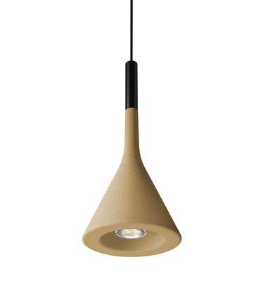 Suspension Aplomb LED / Ciment - Ø 17 cm x H 36 cm - Foscarini jaune sable en pierre