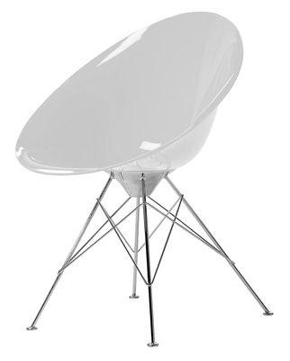 Mobilier - Chaises, fauteuils de salle à manger - Fauteuil Ero/S/ en polycarbonate - Kartell - Opaque blanc - Acier chromé, Polycarbonate