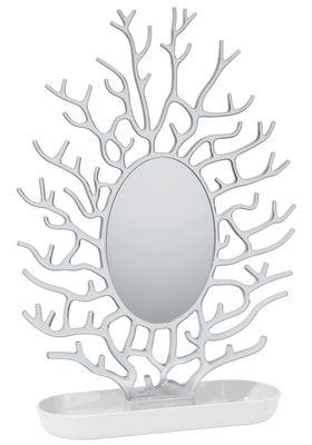 Accessoires - Bijoux, porte-clés... - Miroir à poser Cora / H 43 cm - Koziol - Blanc opaque / Transparent - Polycarbonate, Polypropylène