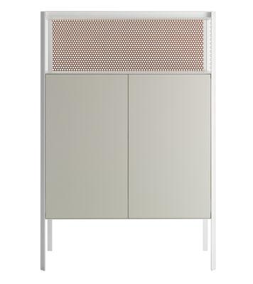 Möbel - Aufbewahrungsmöbel - Heron Geschirrschrank / L 103 cm x H 152 cm - MDF Italia - Weiß & orange / Seiten transparentes Glas - Furnier, lackiert, Glas, lackiertes Metall