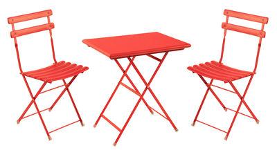 Set tavolo & sedia Arc en Ciel / Tavolo 70x50cm + 2 sedie - Emu - Rouge écarlate - Metallo