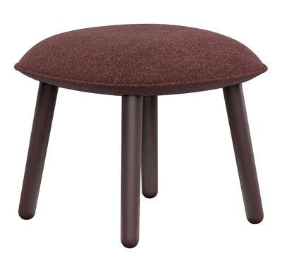 Mobilier - Poufs - Repose-pieds Ace / Tissu & bois - Normann Copenhagen - Tissu rouge foncé - Hêtre teinté, Tissu Nist