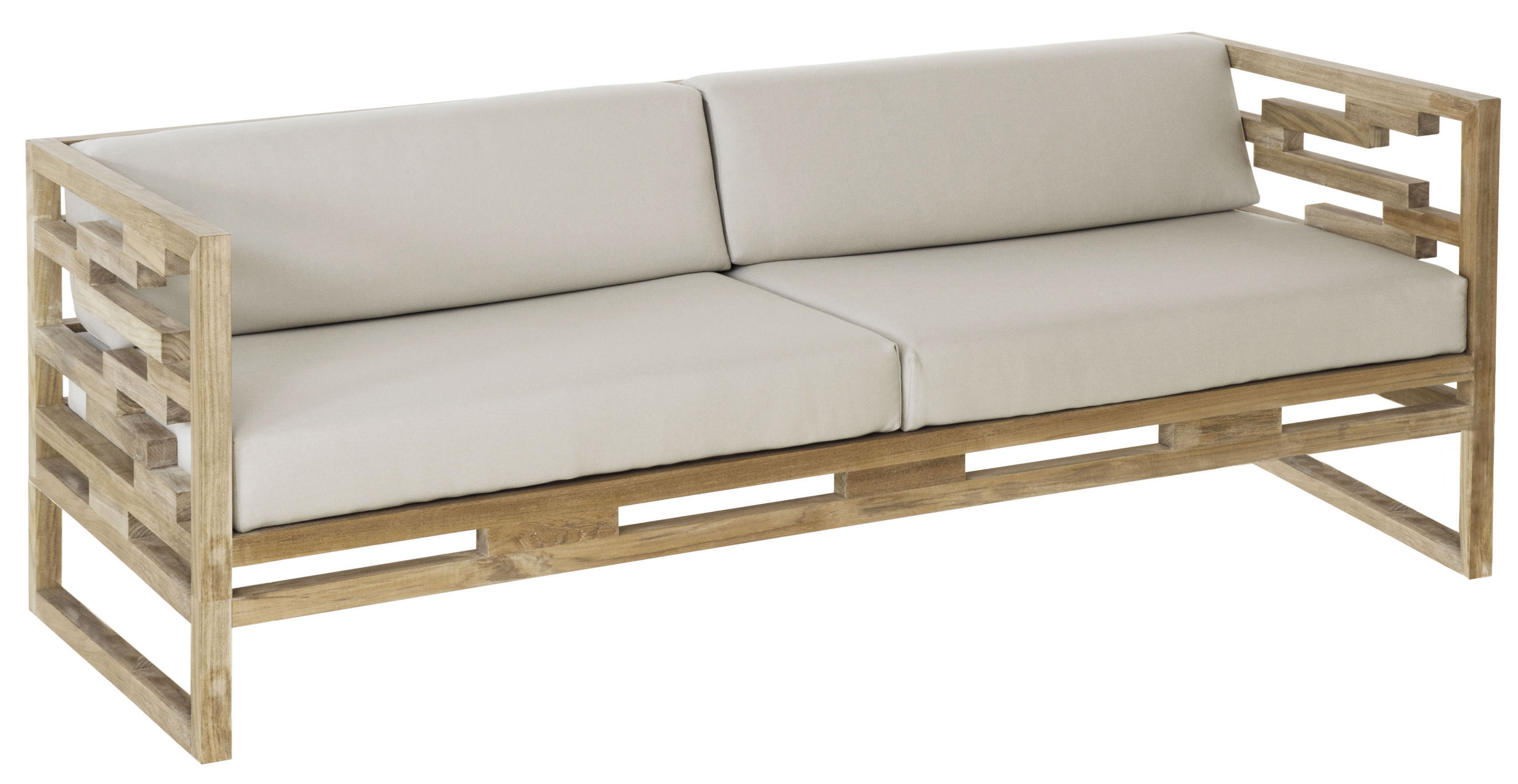 kontiki straight sofa teak l 195 cm teak perla beige cushion by emu. Black Bedroom Furniture Sets. Home Design Ideas