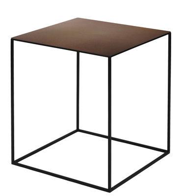 Tavolino basso Slim Irony / 41 x 41 x H 46 cm - Zeus - Ruggine,Nero ramato - Metallo