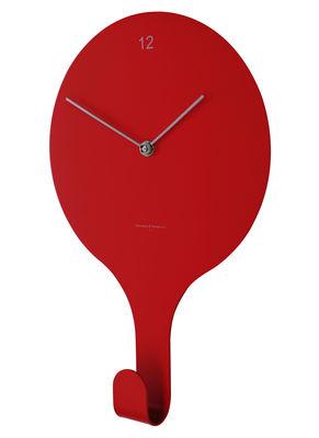 Horloge murale En suspend Patère Diamantini Domeniconi rouge en métal