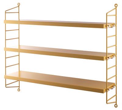 Mobilier - Etagères & bibliothèques - Etagère String Pocket / L 60 x H 50 cm - String Furniture - Moutarde / Montants moutarde - Acier laqué, MDF peint