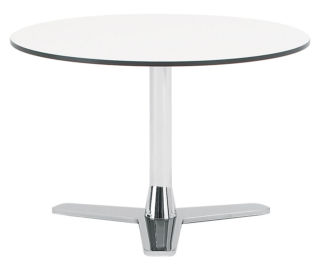 Table basse propeller blanc pied chrom offecct - Table basse pied chrome ...