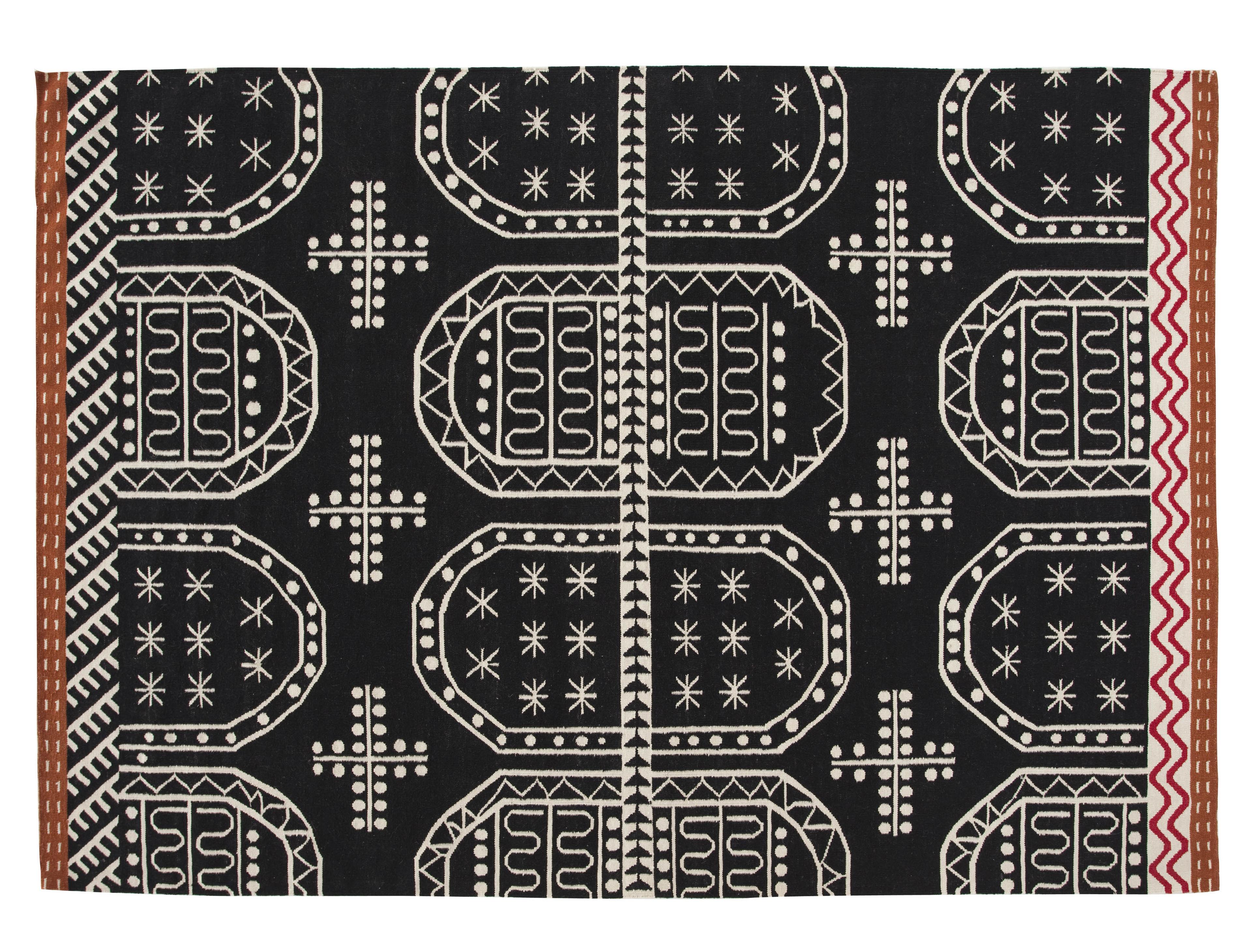 tapis kilim tasili 240 x 170 cm noir gan. Black Bedroom Furniture Sets. Home Design Ideas