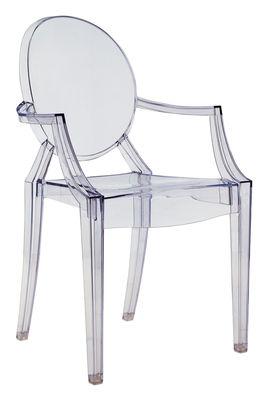 Fauteuil empilable Louis Ghost / Polycarbonate - Kartell bleu transparent en matière plastique