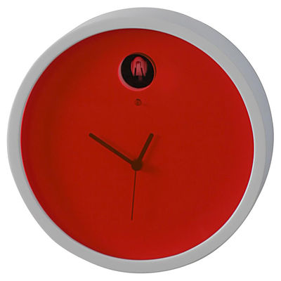 Horloge murale Plex à coucou Cadre blanc / cadran rouge ...