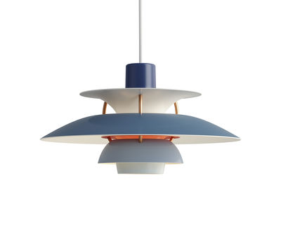 Luminaire - Suspensions - Suspension PH 5 Mini / Ø 30 cm - Louis Poulsen - Bleu / Tiges bronze - Aluminium