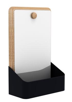 Foto Scaffale a parete Pin Box Specchio / L 18 x H 28 cm - Universo Positivo - Nero,Rovere naturale - Metallo Portaoggetti da parete