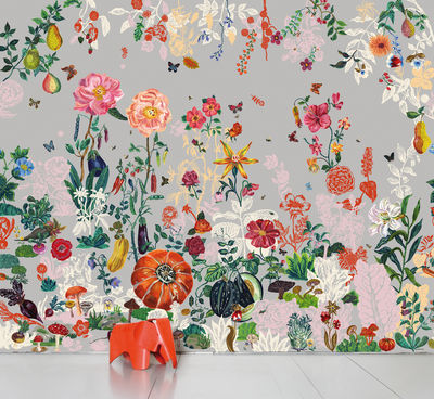Déco - Stickers, papiers peints & posters - Papier peint panoramique Jardin / 8 lés - L 372 x H 300 cm - Domestic - Jardin gris - Papier intissé