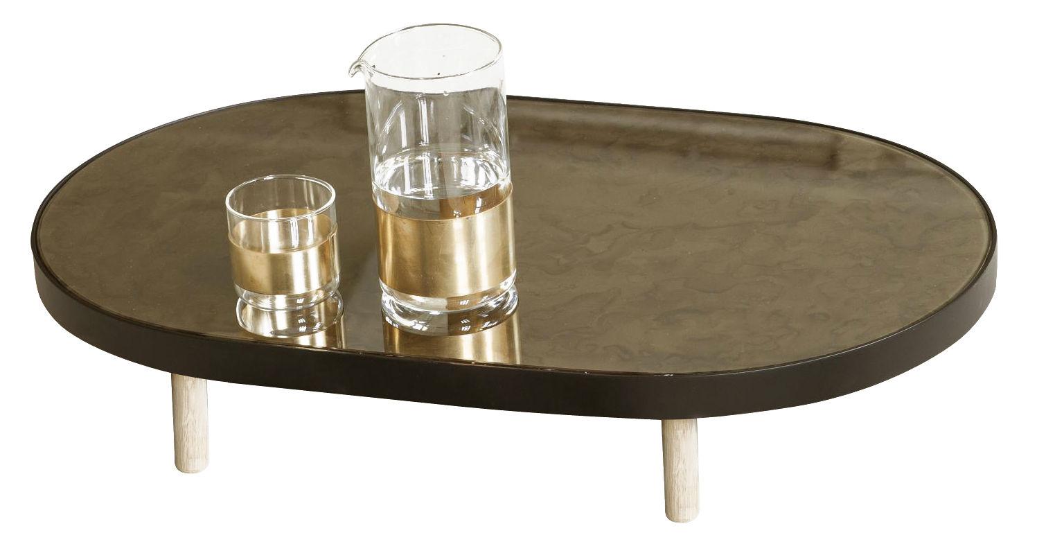 plateau reflect miroir ovale 67 x 41 cm noir miroir pieds bois naturel serax made in. Black Bedroom Furniture Sets. Home Design Ideas