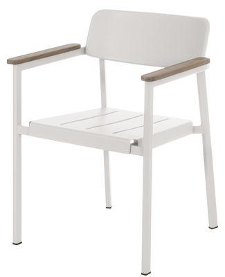 Shine Stapelbarer Sessel - Emu - Weiß,Teak