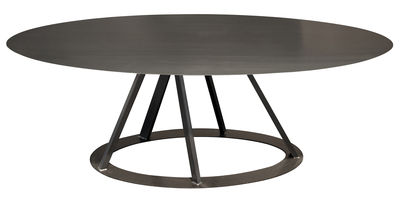 Table big irony ovale 220 x 110 cm noir cuivr zeus for Table 12 personnes design