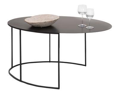 Tavolino basso Slim Irony ovale / H 42 cm - Zeus - Nero ramato - Metallo