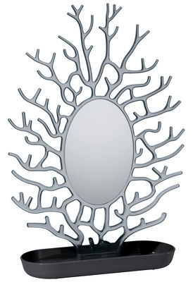 Accessoires - Bijoux, porte-clés... - Miroir à poser Cora / H 43 cm - Koziol - Noir opaque / Anthracite transparent - Polycarbonate, Polypropylène