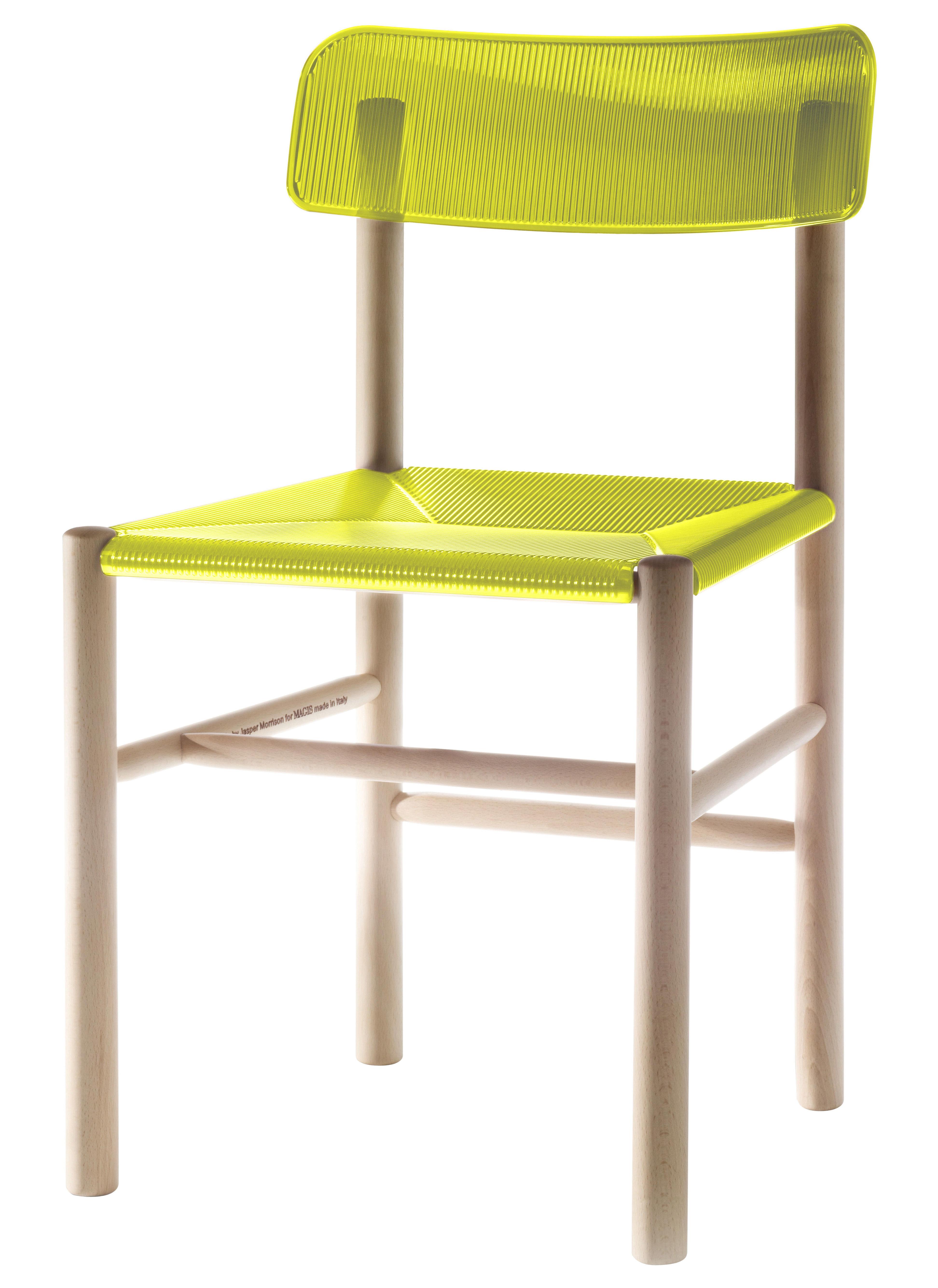 Chaise trattoria chair plastique bois jaune magis for Chaise plastique bois