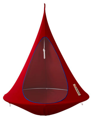Outdoor - Sun Loungers & Hammocks - Hanging armchair - Single Hanging chair by Cacoon - Red - Anodized aluminium, Cloth
