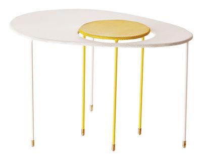 Foto Tables gigognes Kangourou - Set 2 tavoli sovrapponibili - Rieditata 50' di Gubi - Bianco,Giallo - Metallo