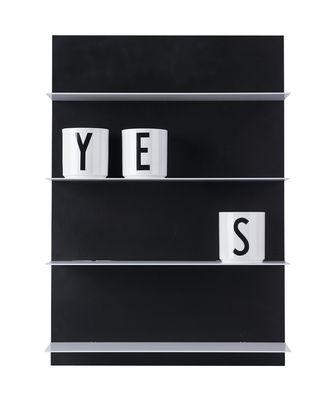 Etagère murale Paper / L 42 x H 59 cm - Design Letters paroi : noir - planches : blanc en métal