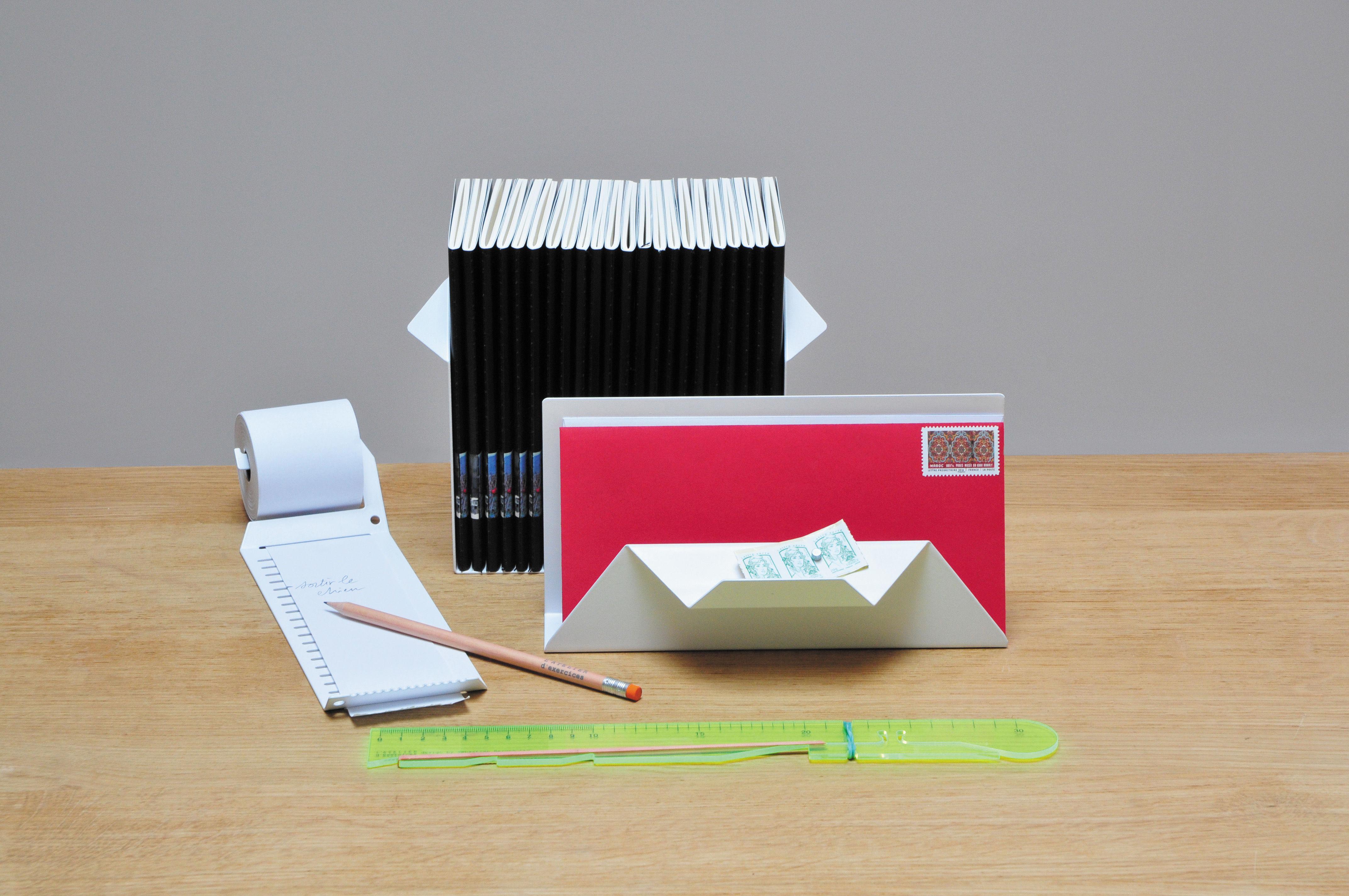 Set office 5 accessoires de bureau blanc r gle jaune for Set de bureau design