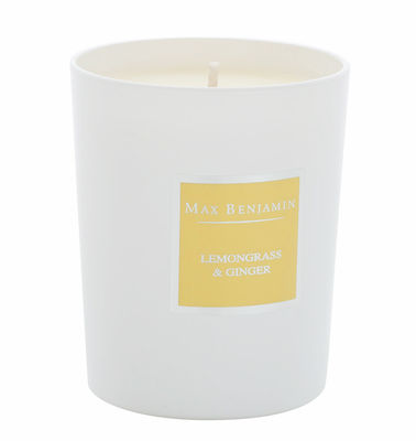 Bougie parfumée Citronnelle & gingembre - 190gr - Max Benjamin blanc,jaune pâle en verre