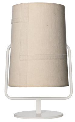 Luminaire - Lampes de table - Lampe de table Fork Maxi / H 44 cm - Diesel with Foscarini - Abat-jour Ivoire / Structure ivoire - Acier verni, Polycarbonate, Tissu