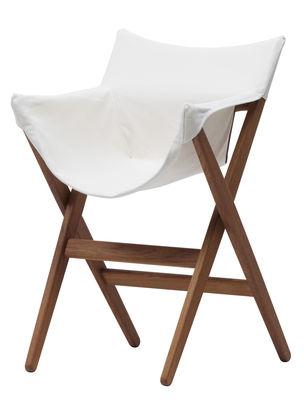 Mobilier - Chaises, fauteuils de salle à manger - Fauteuil empilable Fionda / Pour l'extérieur - Bois & tissu - Mattiazzi - Teck / Toile beige - Teck huilé, Toile