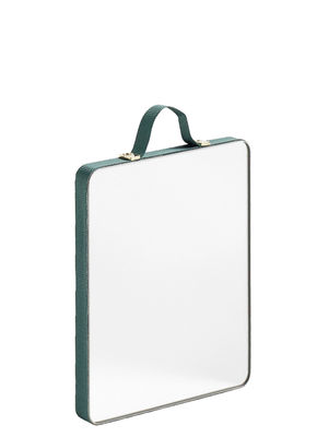 Déco - Miroirs - Miroir mural Ruban Small / L 10 x H 12 cm - Hay - Vert / 10 x 12 cm - Laiton, Plaquage chêne, Polyester, Verre
