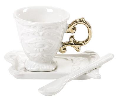 Tasse à café I-Coffee / Set tasse + soucoupe + cuillère - Seletti or en céramique
