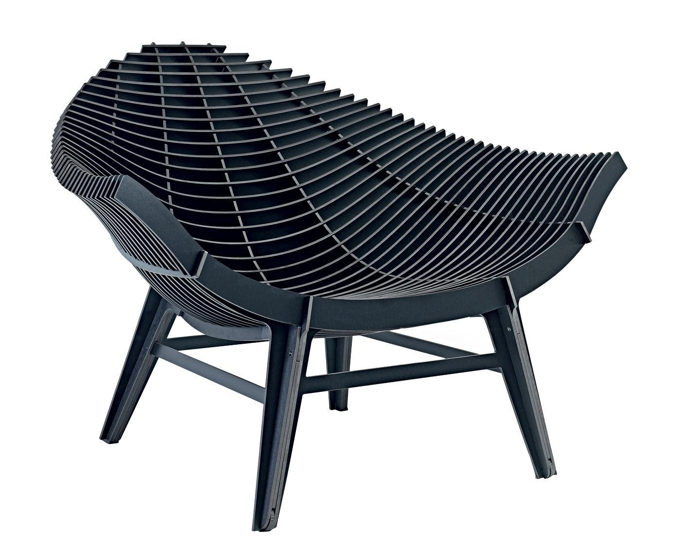 fauteuil bas manta stratifi int rieur ext rieur noir ibride. Black Bedroom Furniture Sets. Home Design Ideas