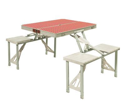Jardin - Tables de jardin - Table Festival / Table-valise de pique-nique avec bancs - Seletti - Blanc & rouge - Matériau plastique, Métal