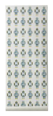 Foto Carta da parati Robots di Ferm Living - Bianco,Blu,Giallo - Carta