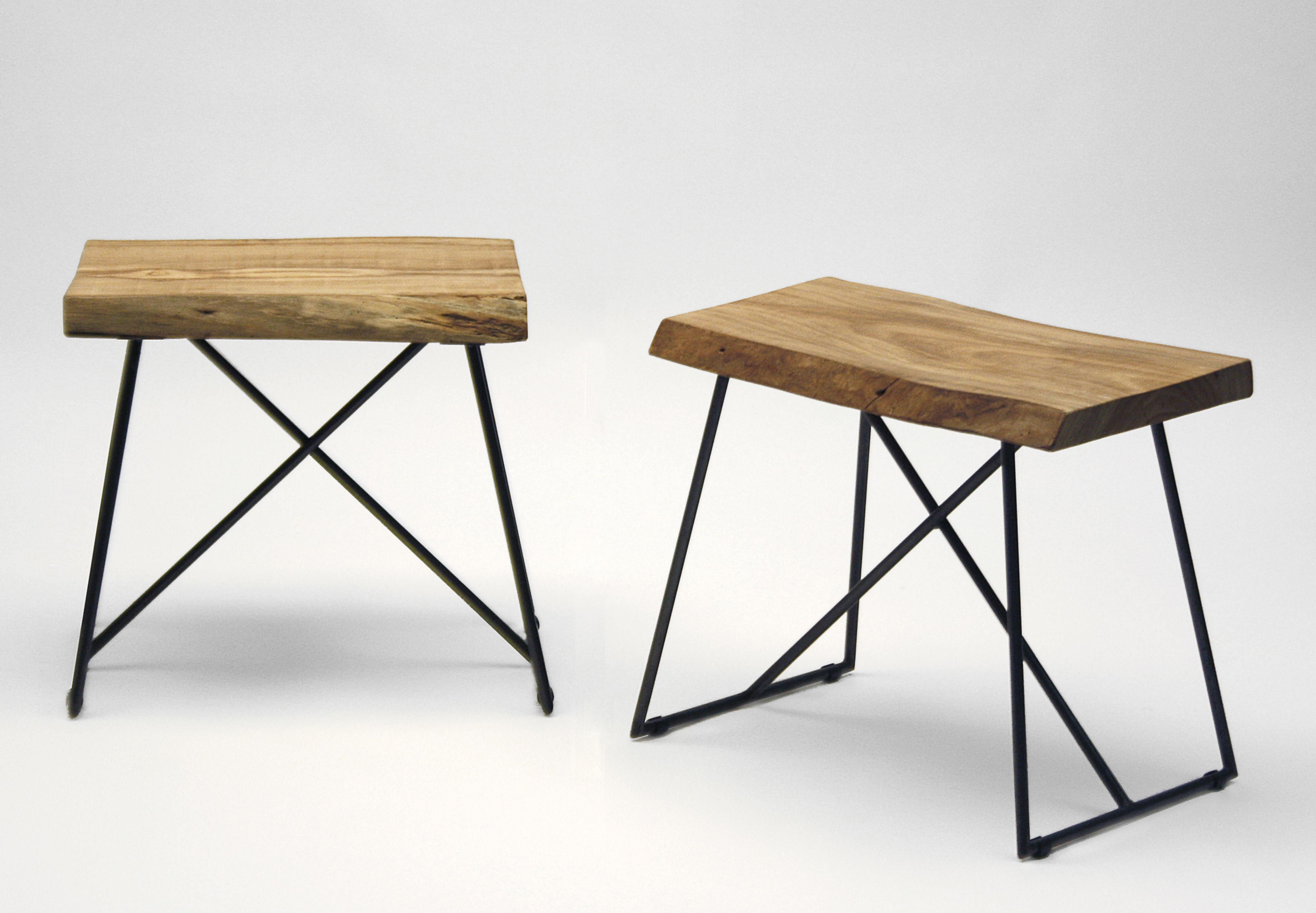 tabouret old times h 47 cm bois m tal bois naturel. Black Bedroom Furniture Sets. Home Design Ideas