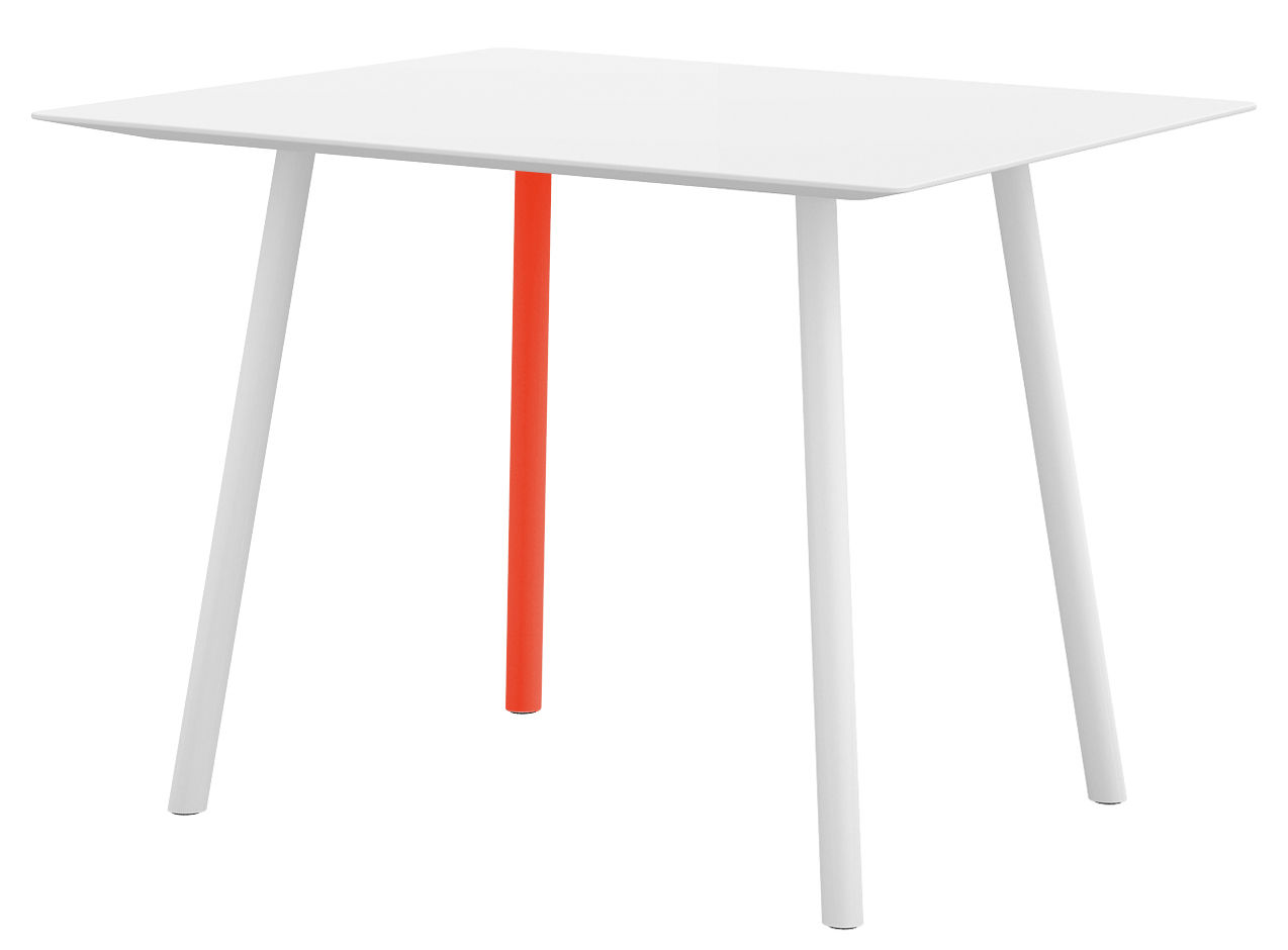 Table maarten 80 x 80 cm blanc 1 pied orange fluo for Table design 80 cm
