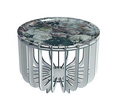 Table basse Medusa / Plateau multicolore amovible - Ø 46 cm - Ibride multicolore,gris en bois