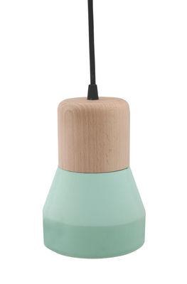 Luminaire - Suspensions - Suspension Cement Wood / Bois & béton - Ø 13 cm - Spécimen Editions - Bois / Diffuseur : Vert - Béton, Hêtre
