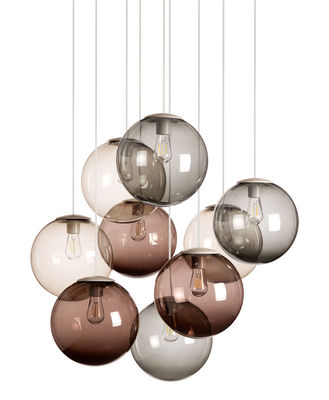 Spheremaker pendant set of 9 led 9 mole grey brown for Suspension ampoules multiples