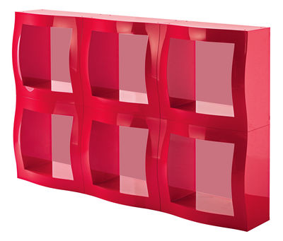 Etagère Boogie Woogie / Cube modulaire - 52 x 52 cm - Magis rouge en matière plastique
