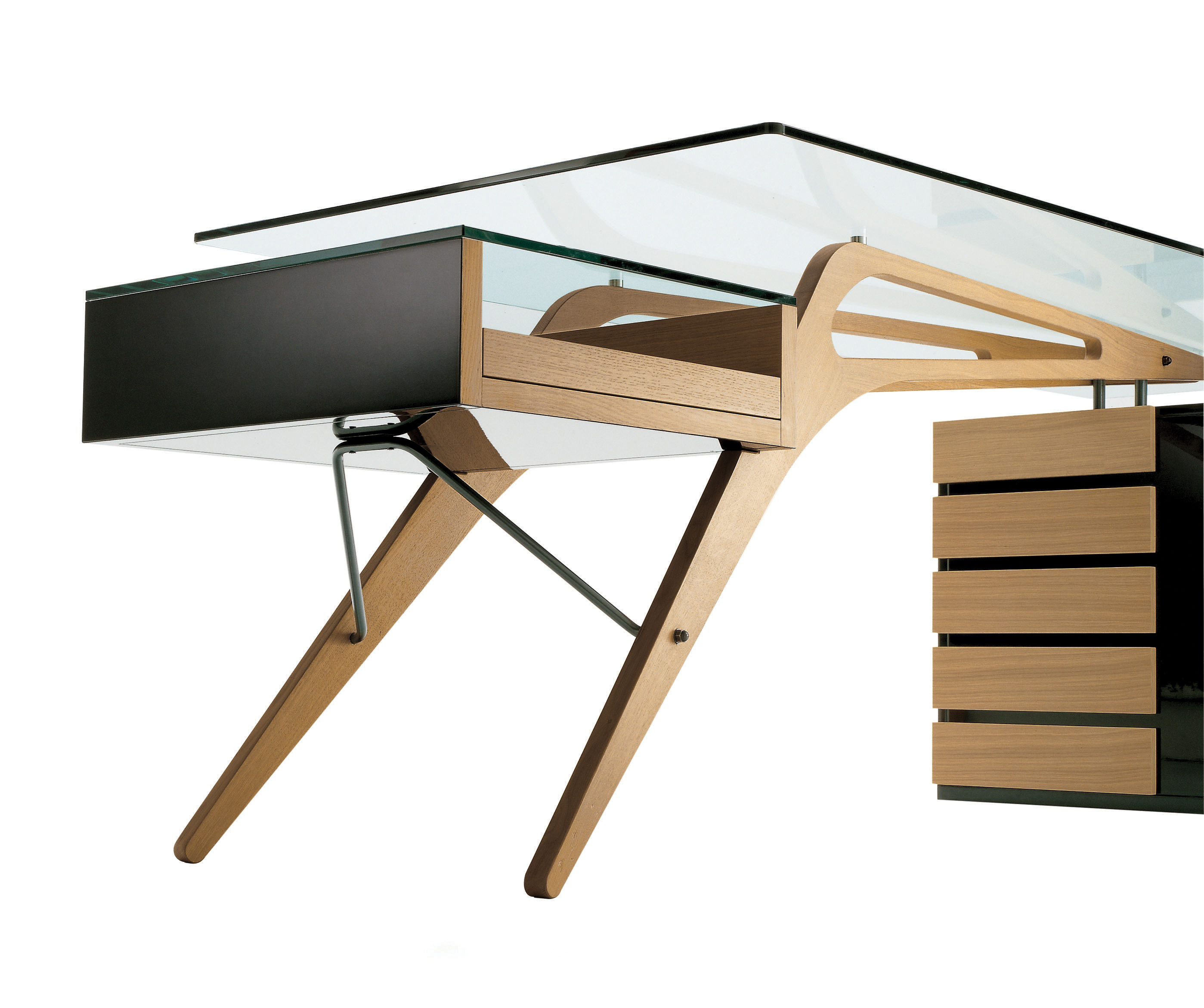 bureau cavour bois verre 247 x 90 cm ch ne naturel noir zanotta. Black Bedroom Furniture Sets. Home Design Ideas