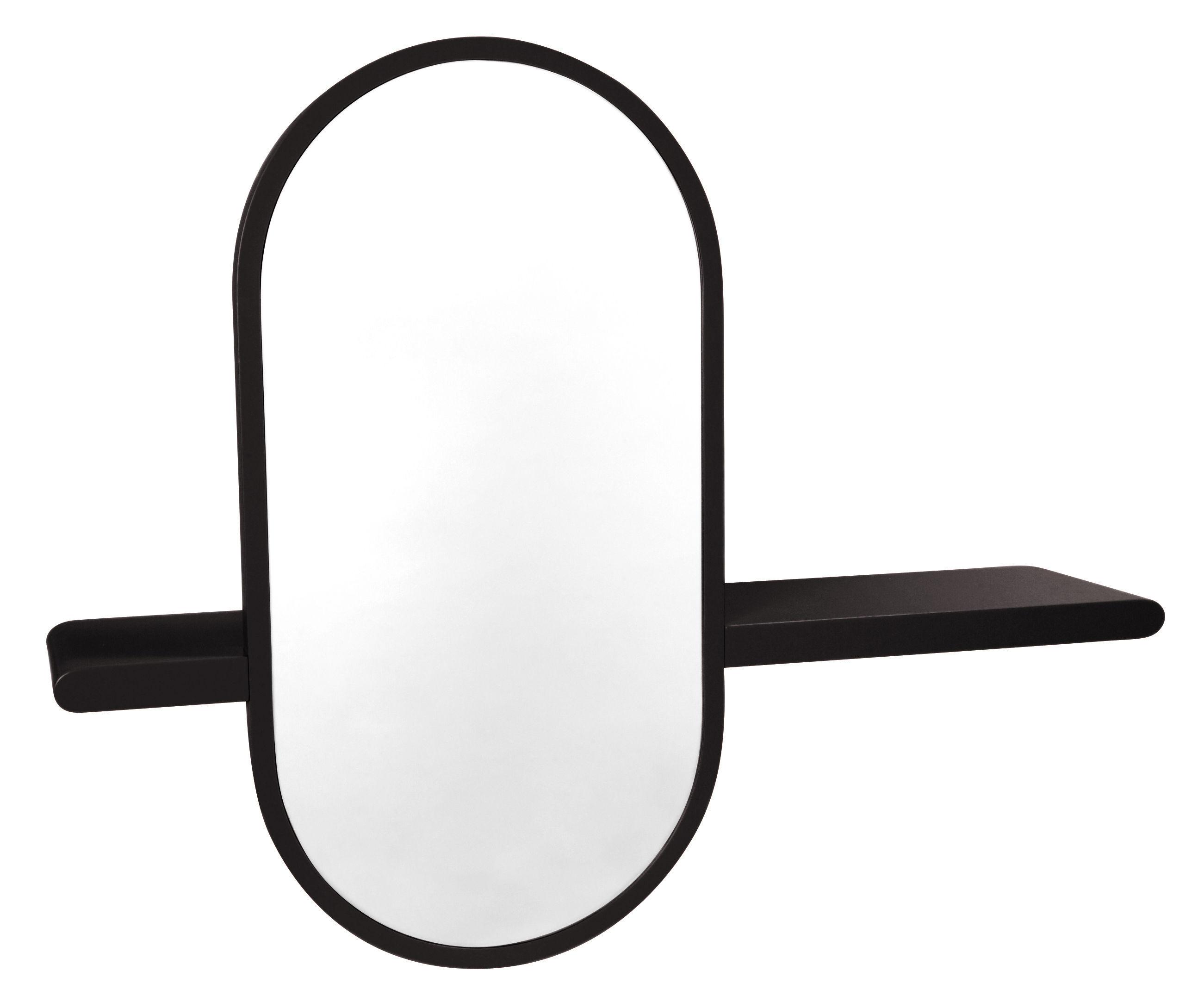 Mirette shelf oval vertical mirror l 80 cm dark brown for Mirror 80 x 50