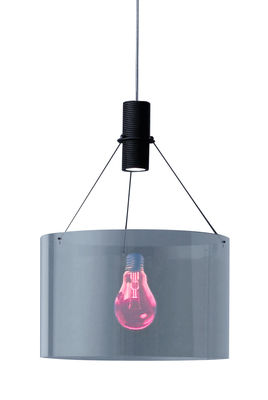 Luminaire - Suspensions - Suspension Eddie's Son - Ingo Maurer - Rouge & noir / Câble transparent - Verre