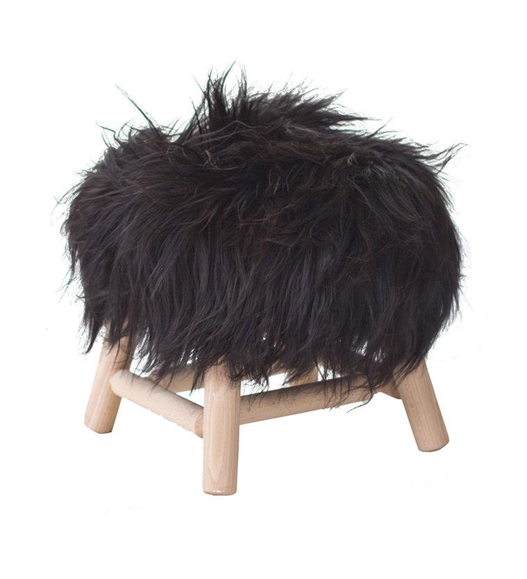 moumoute small hocker h 27 cm echtes schaffell holz hochfloriges fell schwarz by fab. Black Bedroom Furniture Sets. Home Design Ideas