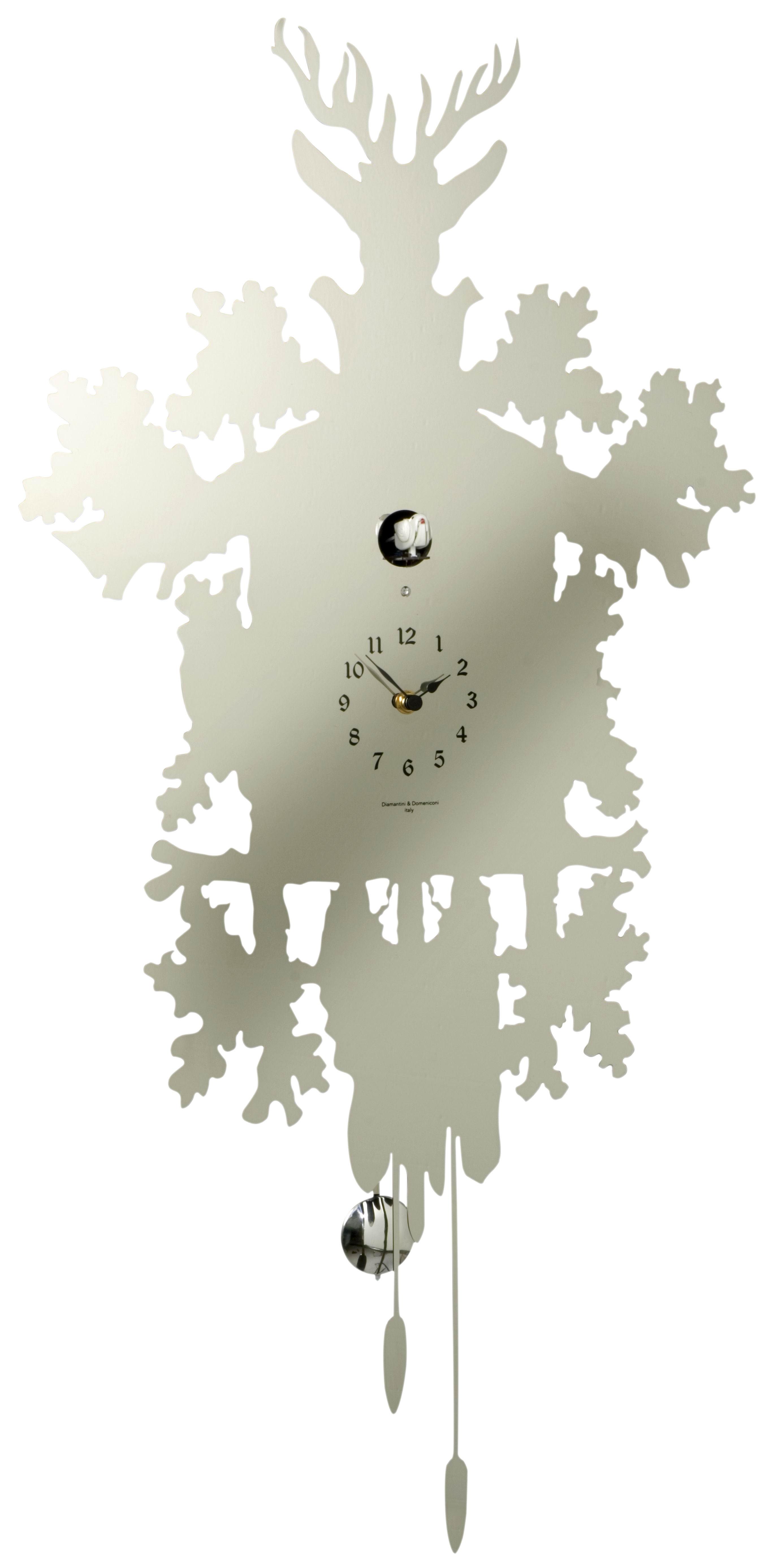 Horloge murale Cucù / Avec balancier - H 81 cm Acier inox ...