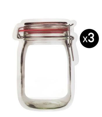 Image of Sacchetti per conservazione Zipper Medium - - 600 ml / Set da 3 di KIKKERLAND - Rosso,Trasparente - Materiale plastico