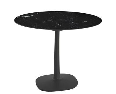 Multiplo Outdoor Tisch / Ø 118 cm - Steinzeug in Marmor-Optik - Kartell - Schwarz
