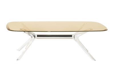 Tavolino Blast - / Vetro - 130 x 80 cm di Kartell - Giallo,Cromato,Trasparente - Vetro
