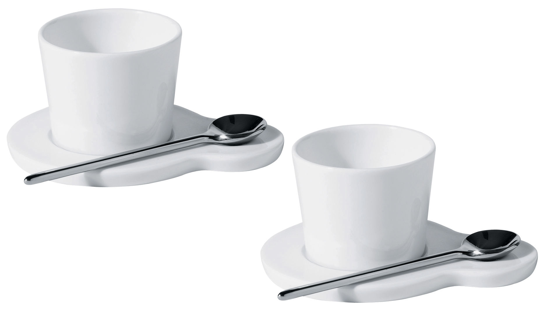 Hupla Coffee cup - Set of 2 cups + 2 saucers White by Alessi